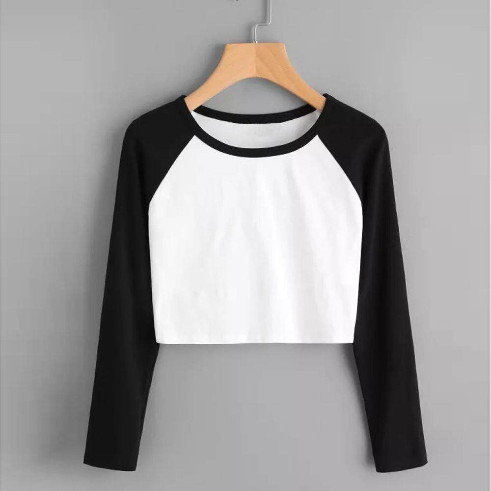 9287df9df20 Women Daily Casual Long Sleeve Solid Patchwork Stretchy Tops Blouse T-Shirt  Winleworld A1