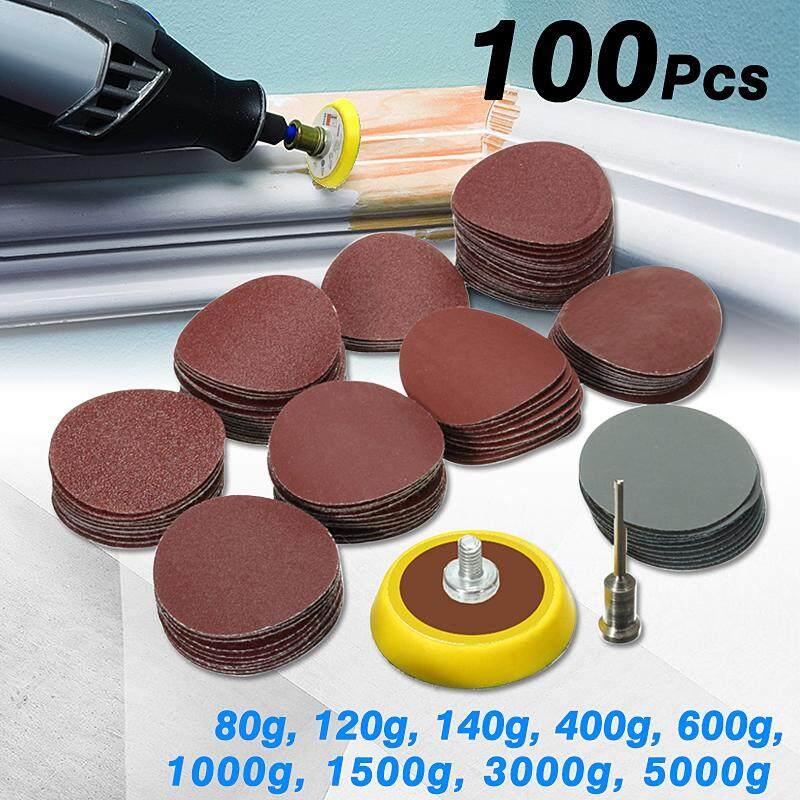 100Pcs 1 Hook Loop Sanding Disc Sandpaper Backer Pad+1/8 Shank Drill Adapter