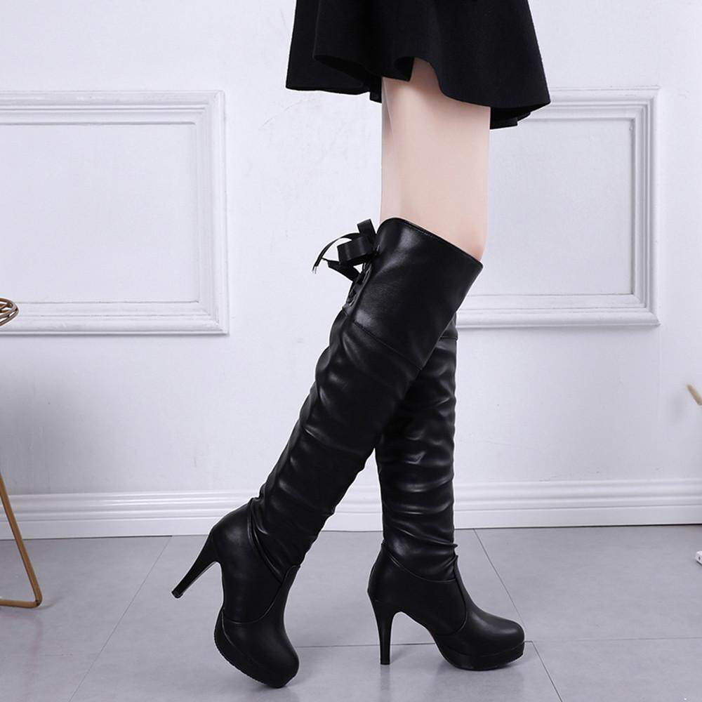 Guo Womens Knight Shoes Round Toe Lace-Up Fine Heel Leather Long Tube Boots By Hongshouguostore.