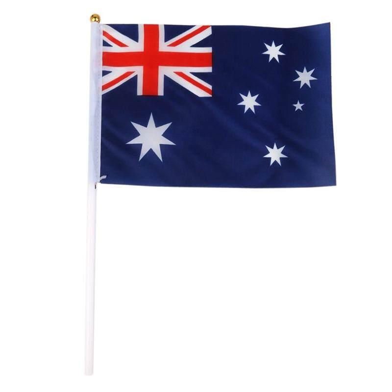 Hand Waving Australia National Flags Plastic Poles 21 x 14cm Pack of 12