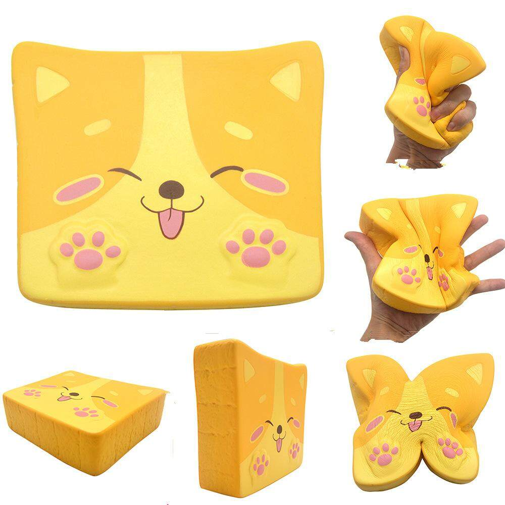 Kiibru Dog Puppy Toast Squishy 14*11.5*4cm Licensed Slow Rising Soft Giant Toy With Packaging By Freebang.