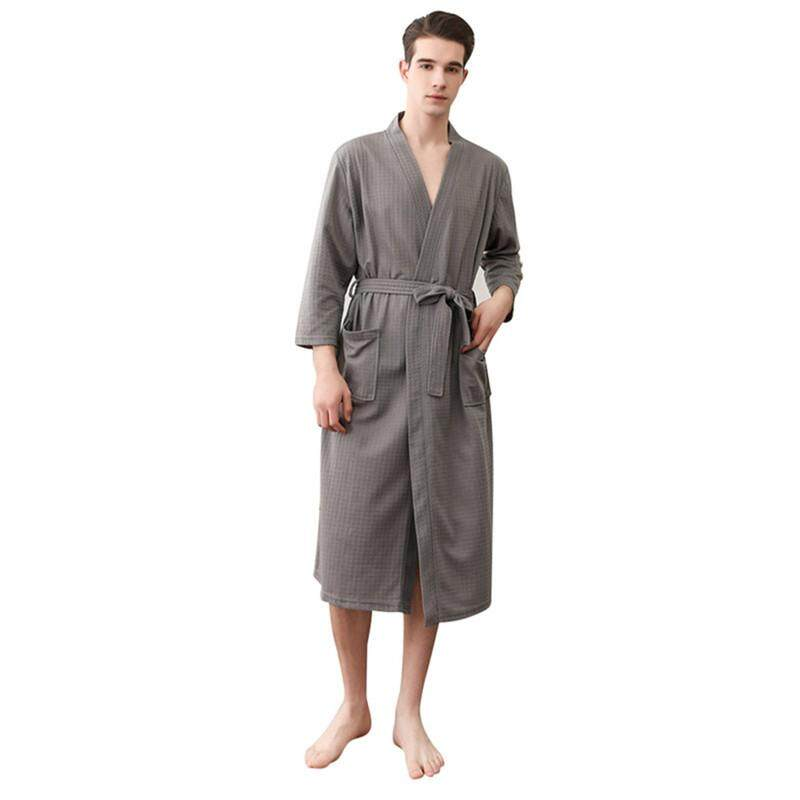 0dfb2eafe3b0 Comebuy Lovers Summer Suck Water Bath Robe Double Pockets Waffle Bathrobe  Men Dressing Gown Male Lounge
