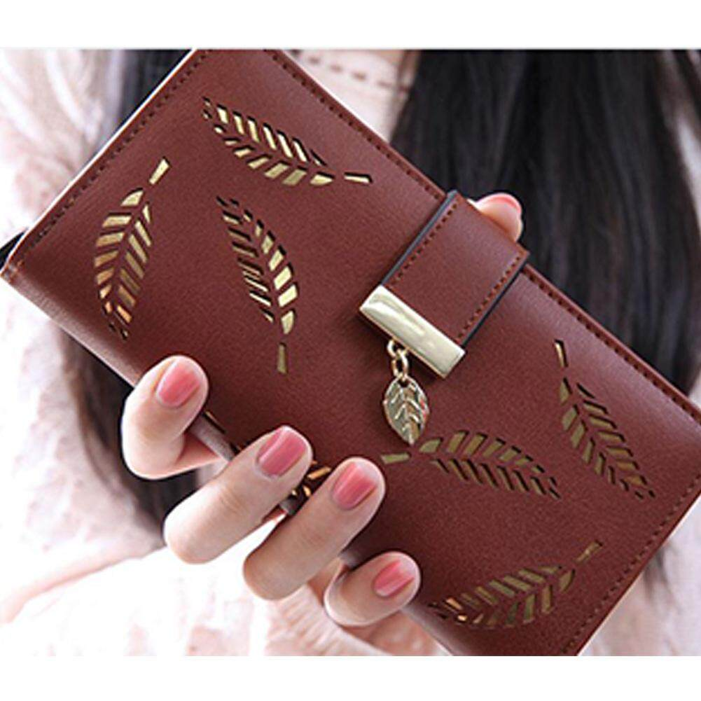 Moonar 1xKorean Women's Hollow Leaf Zipper Hasp Long Clutch Bag Card Wallet Coin Purse