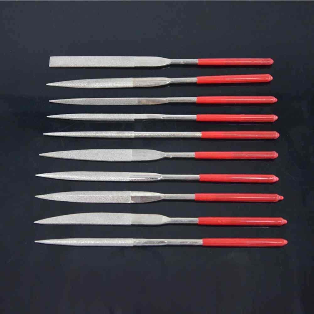 LISSNG 10PCS Diamond Needle File Set Diamond Cutting Tool For Glass Ceramic Carbide