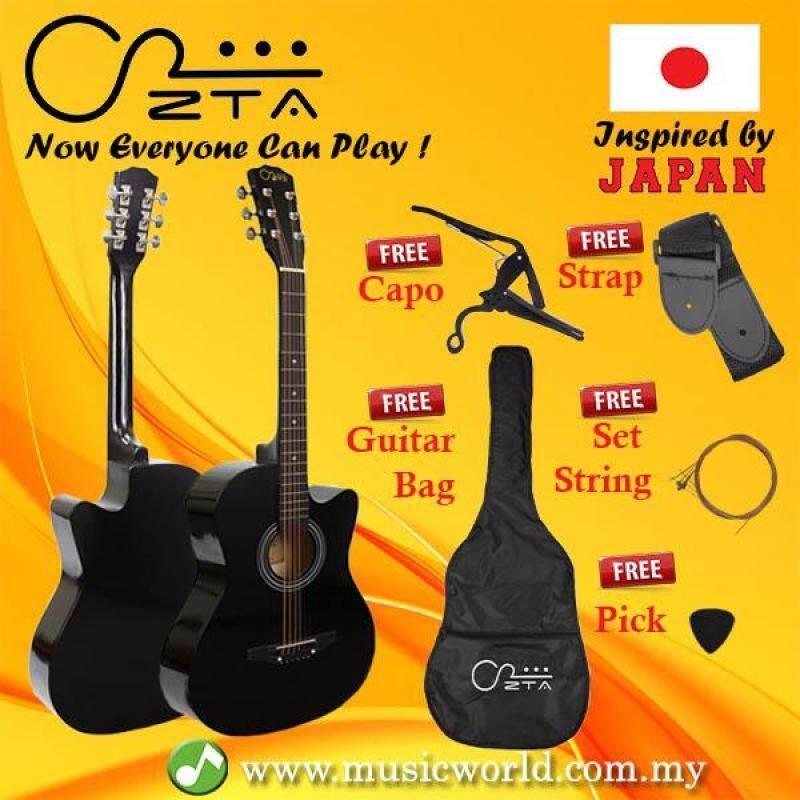ZTA 38 Inch Acoustic Guitar Black Cutaway Starter Pack Folk Guitar Bundle Malaysia
