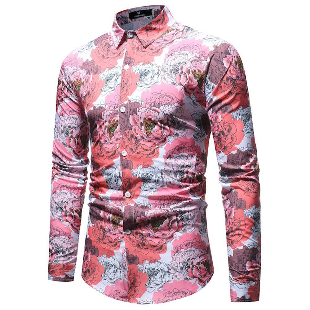 f4581ece832e Men's Fashion Casual European Style 2018 New Long sleeved Shirts Rose Prints