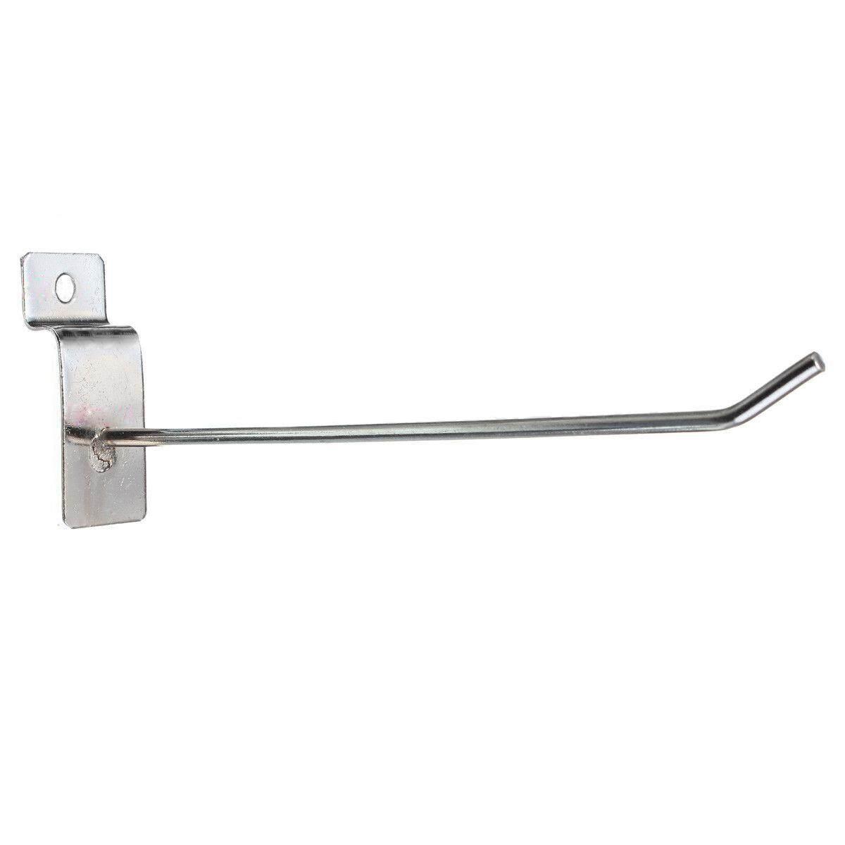 25 x Slatwall Single Hook Pin Shop Display Fitting Prong Hanger 150mm