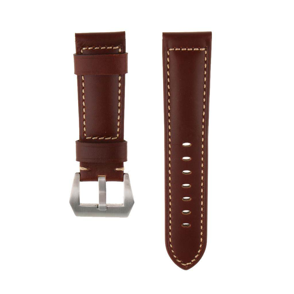 GuangquanStrade Genuine Leather Watch Strap Watch Band Wrist Band Replacement Brown 24mm Malaysia