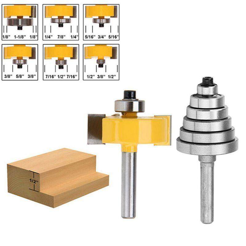 1/4 Inch Shank Rabbeting Router Bit with 6 Bearings Set for Multiple Depths 1/8 inch, 1/4 inch, 5/16 inch, 3/8 inch, 7/16 inch, 1/2 inch