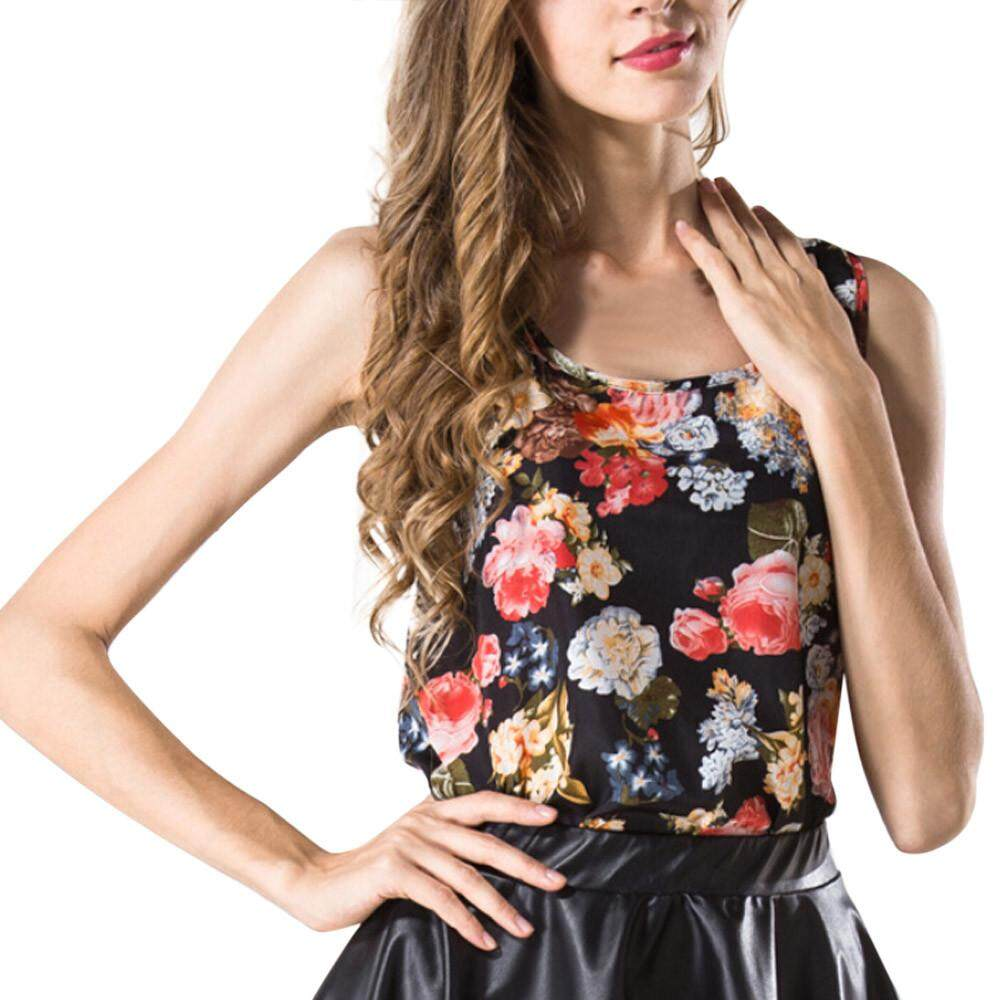 c7e8559db977 Women O-Neck Printed Sleeveless Vest Chiffon Tops T-Shirt Blouse