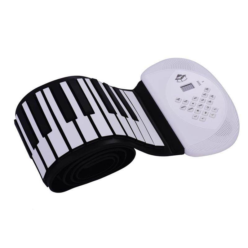 88 Keys MIDI Roll Up Piano Electronic Silicon Keyboard Built-in Stereo Speaker 1200mA Li-ion Support BT Connection Record Sustain functions white US plug Malaysia