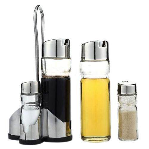 5X Salt Pepper Oil Sauce Vinegar Dispenser Cruet Condiment Set Glass Container