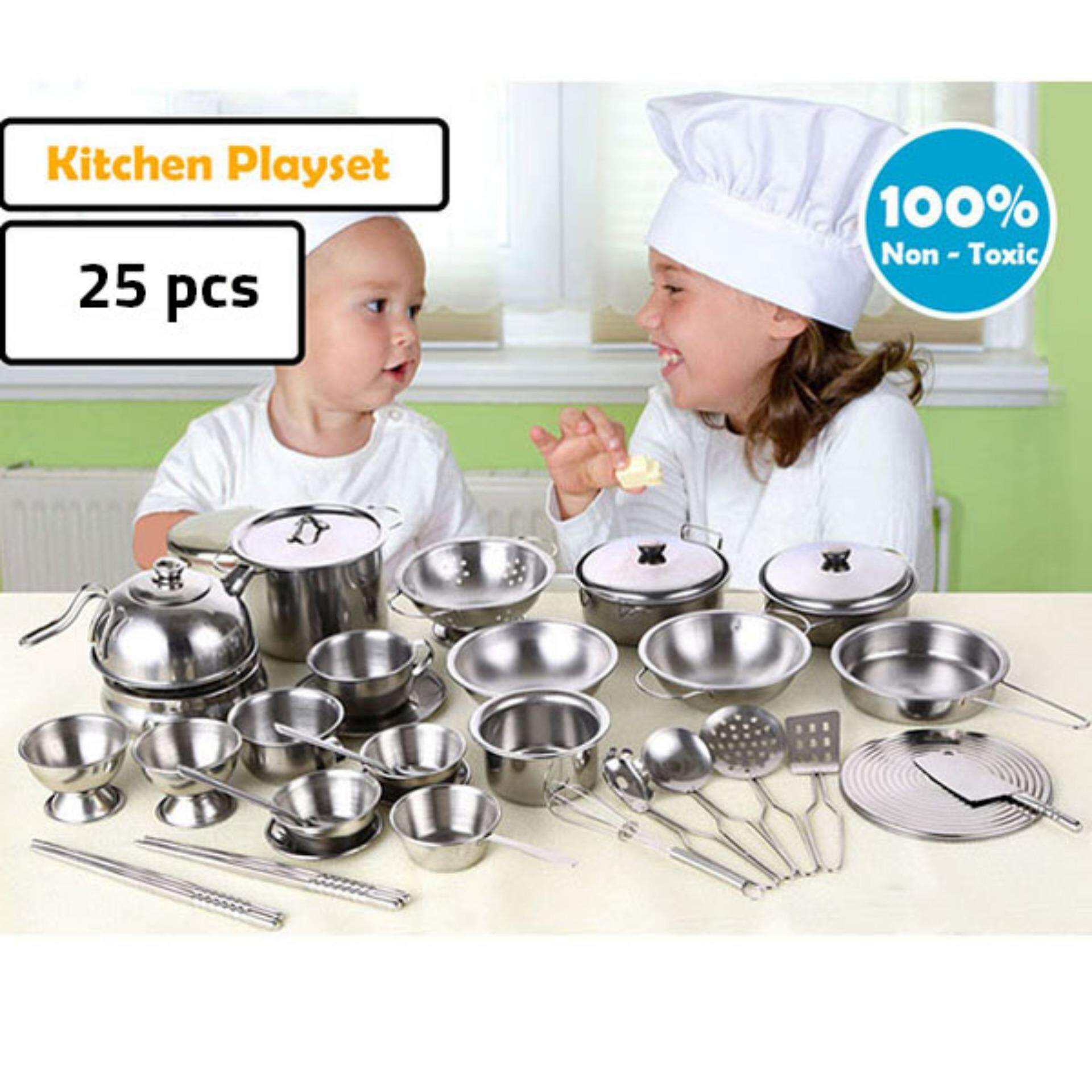 Realeos 25 PCS Kids Stainless Steel Cooking Kitchen Playset - R535