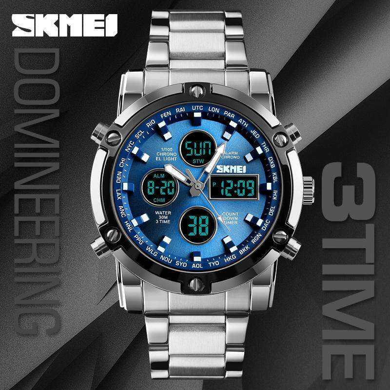 SKMEI new 1389 dual-time stainless steel mens three-eye watch sports business casual watches Malaysia