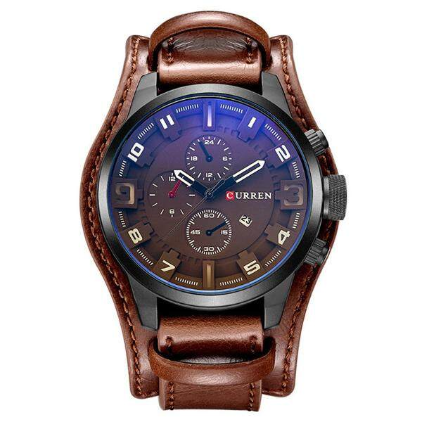 CURREN 8225 Fashion Men Quartz Wristwatch Creative Leather Strap Sports Watch Malaysia