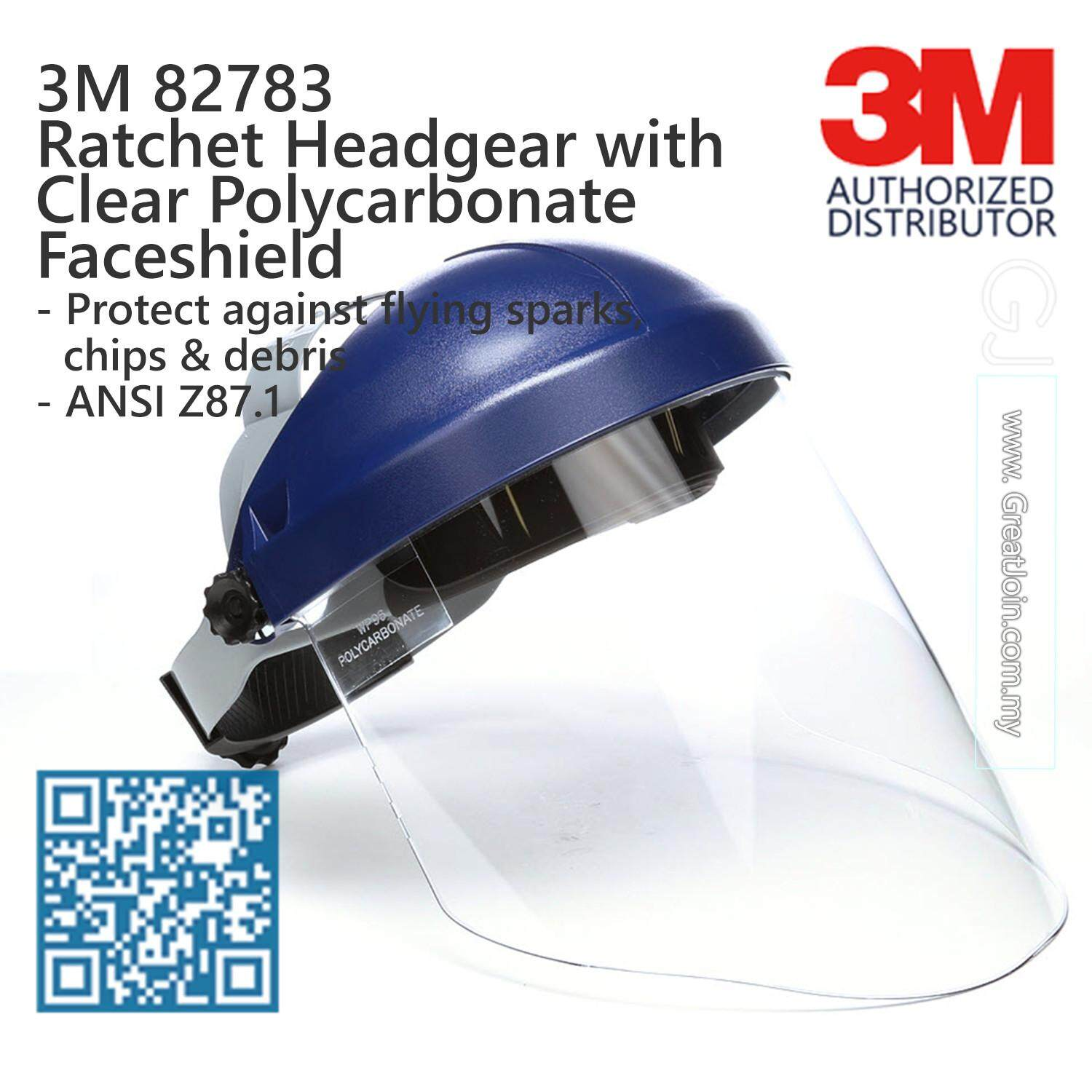 3M 82783 Ratchet Headgear with Clear Polycarbonate Faceshield/ Head & Face Protection/ 13-Point Suspension Ratchet Type/ ANSI Approval [1 piece]