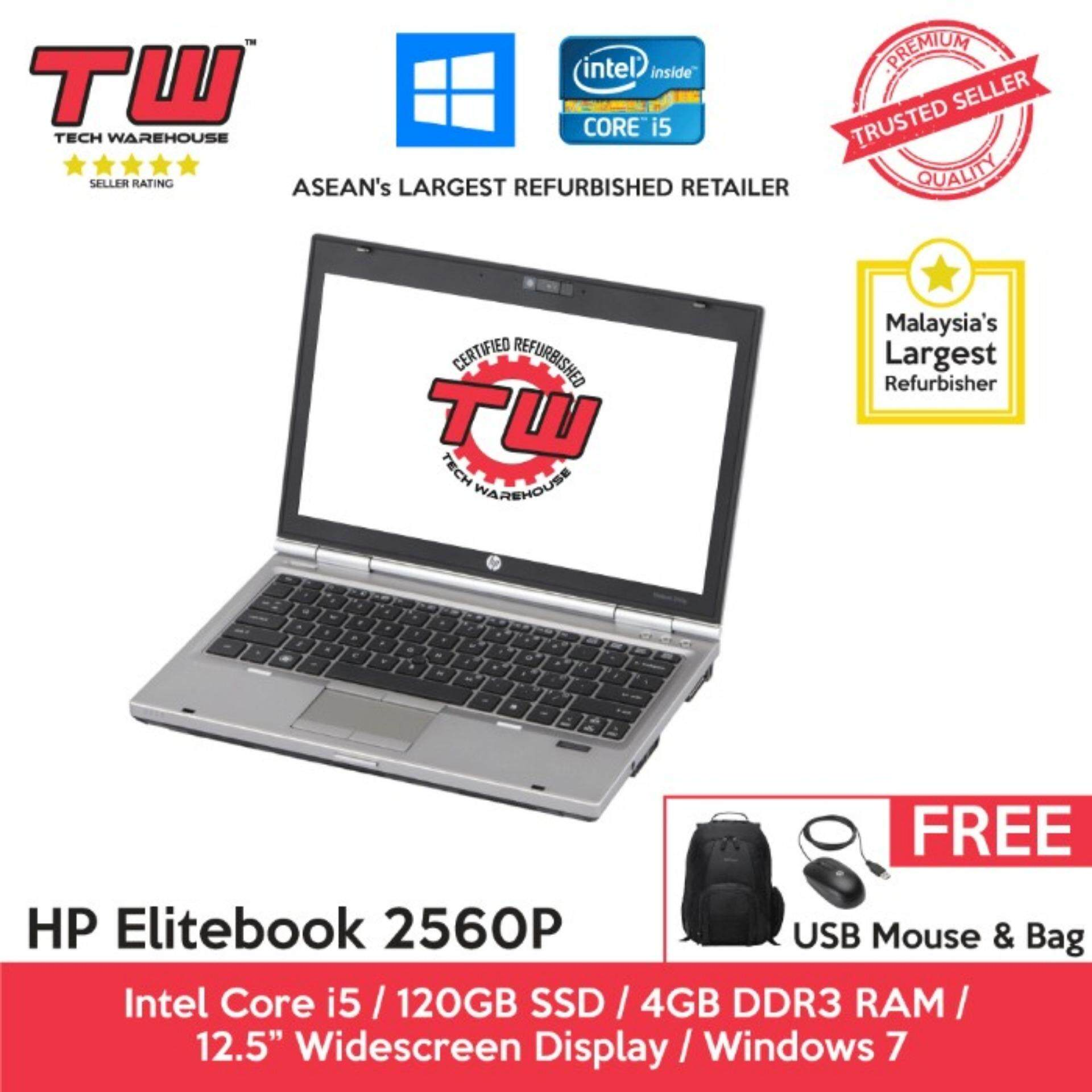 HP Elitebook 2560p Core i5 2.6 GHz / 4GB RAM / 120GB SSD / Windows 7 Laptop / 3 Months Warranty (Factory Refurbished) Malaysia
