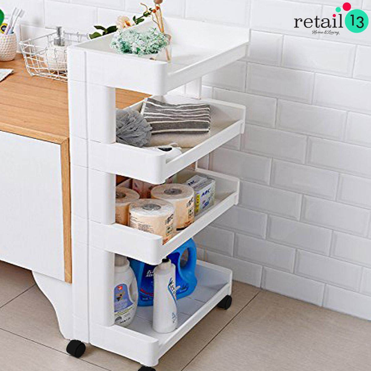 High Quality 4 Tier Multipurpose Storage Rack Shelf With Wheels Design (white) By Retail13.