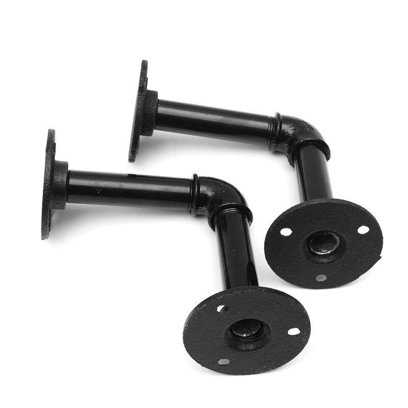 2pcs Vintage Retro Black Iron Industrial Pipe Shelf Bracket Holder With Screws