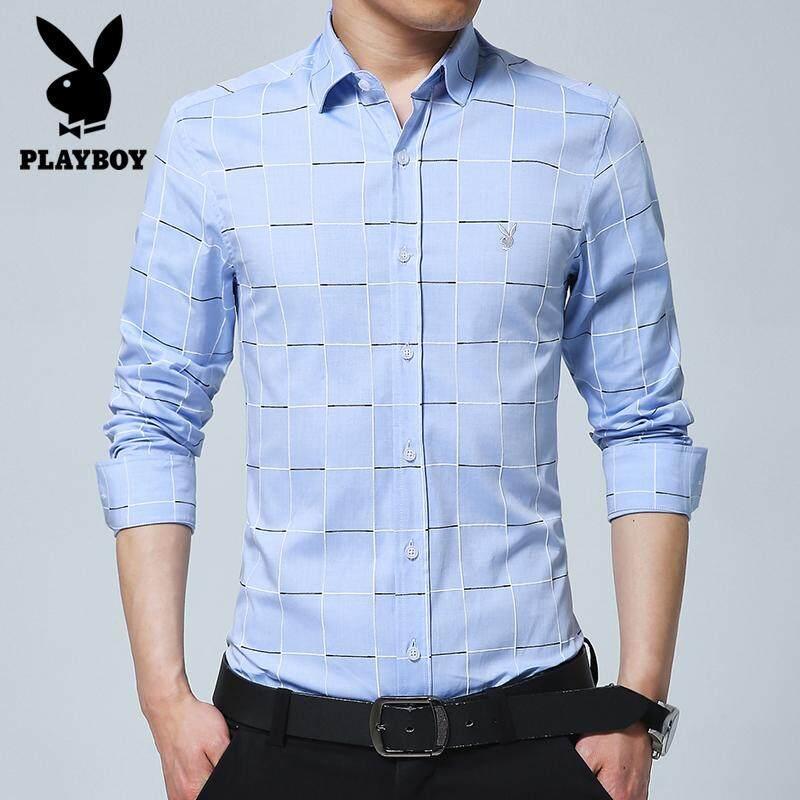 920f19b5cc Play Boy 2018 Fashion Men's New Business Shirt Grid Casual Shirt