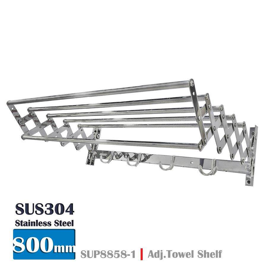 304 Stainless Steel Adjustable Towel Shelf With Hooks Sup8858-1 800mm (chrome) By Owk Home Marketing.