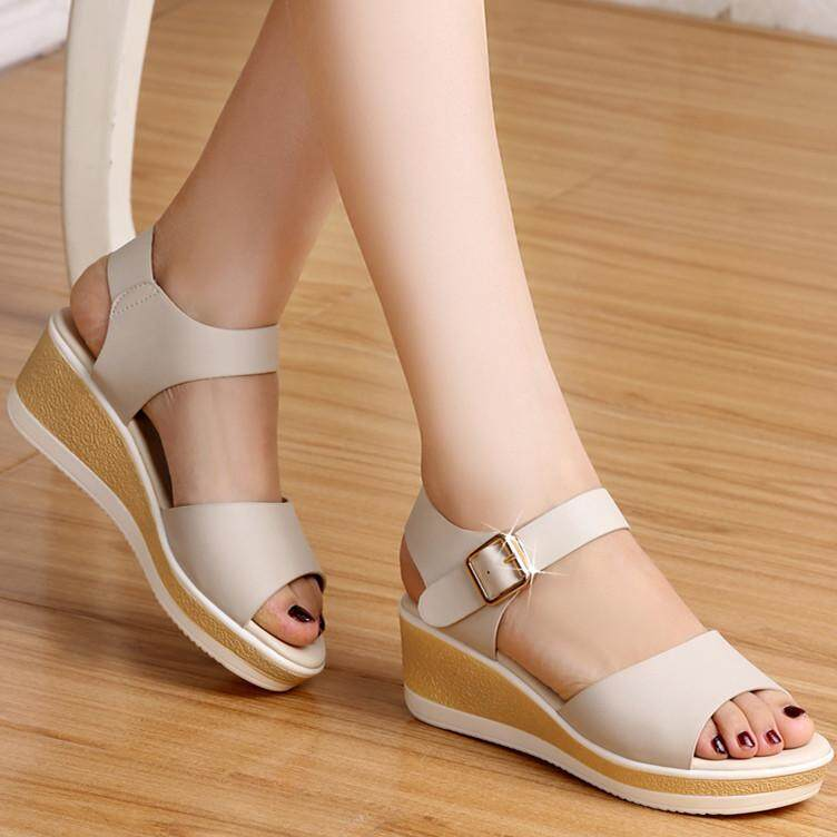 cc58727654f00a Summer New Style Sandals Female Slanted Heel Flat Fish Mouth Versatile  Leather Muffin Thick Bottomed Mom