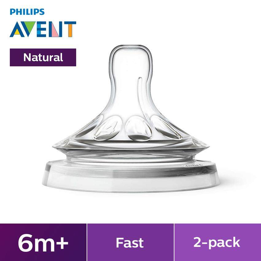 Philips Avent Natural Feeding Bottles Teats 6m+4h - 2 Pieces Scf654/23 By Philips Avent.