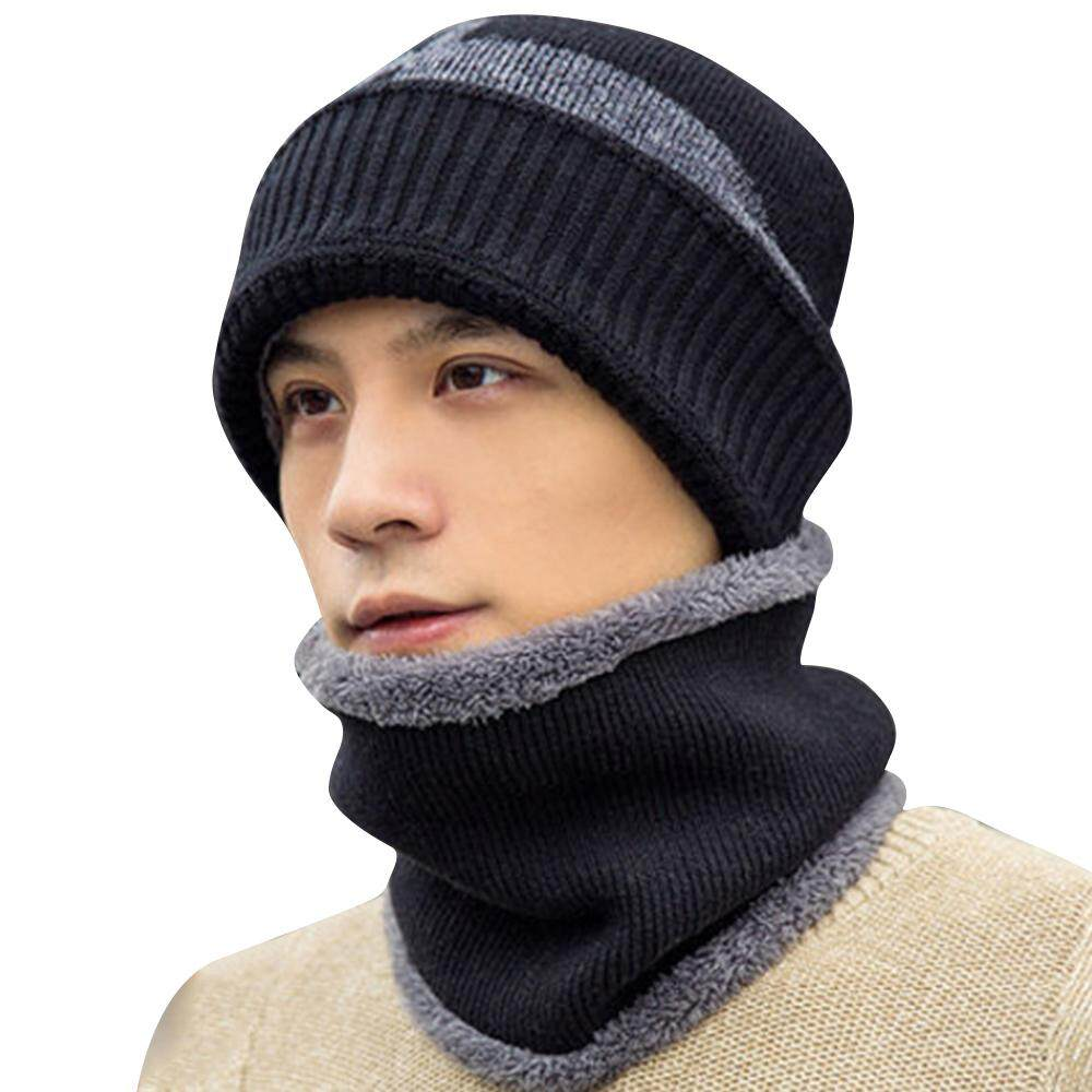 9ddb1df070ffb7 Winter Men's Beanie Hat Scarf Set Knit Hat Warm Hat Earmuffs Skull Cap
