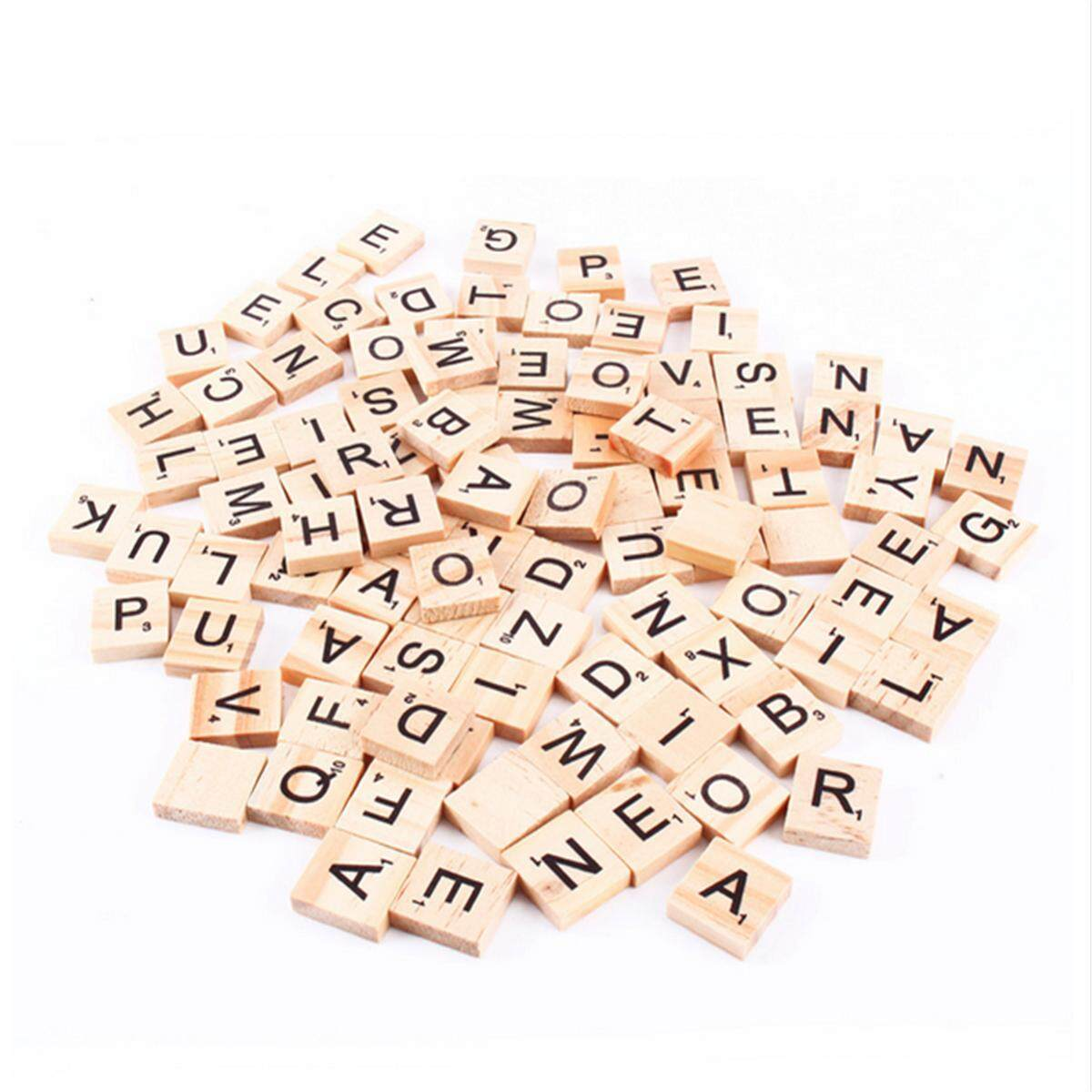 100pcs Wooden Alphabet Scrabble Tiles Black Letters Numbers For Crafts Wood By Glimmer.