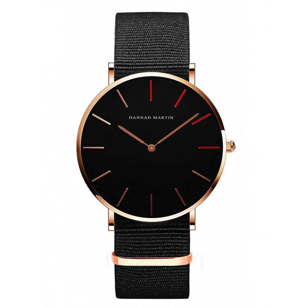 HiQueen Hannah Martin Unisex Casual Wristwatch Round Dial Waterproof Quartz Watch with Leather Strap for Students Malaysia