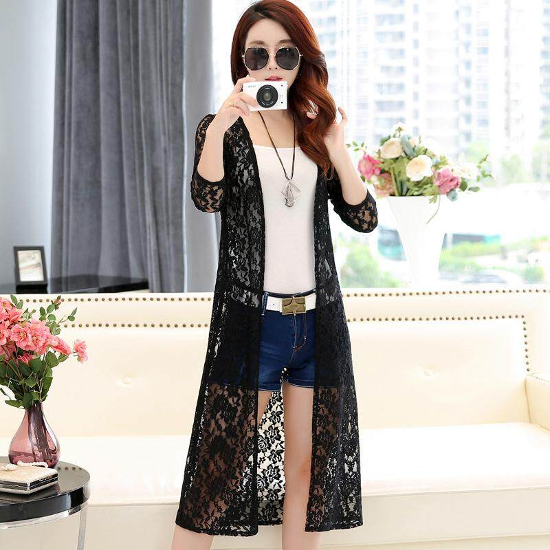 Spring Cow Women Leisure Plain Cardigan Lace Mesh Sun Protecting Beach Wear Shirt Tops By Spring Cow.