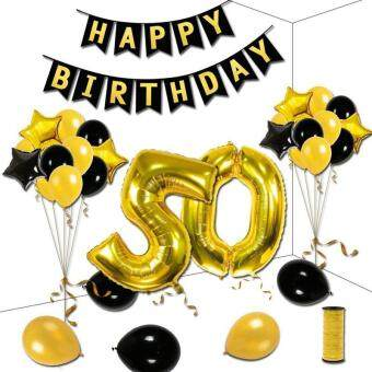 Baru 50th Birthday Theme Party Decorations Kit Black HAPPY BIRTHDAY Banner Gold Number 50 Big Foil Balloon 6pcs And Star Balloons