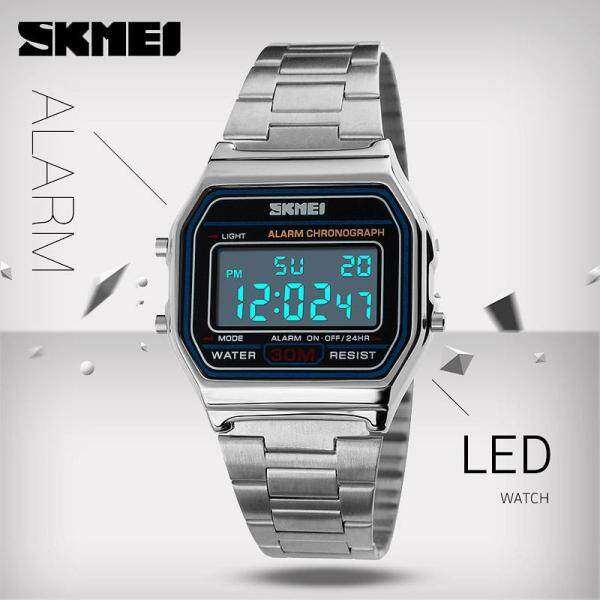 SKMEI Men Fashion Watches Digital Stainless Steel Watch LED Sport Military Waterproof Wristwatches Jam tangan lelaki 1123 Malaysia