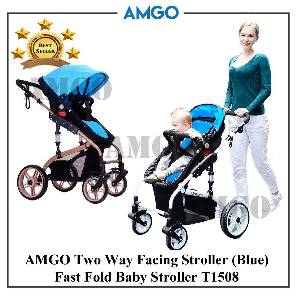 AMGO Luxurious Highest Class Detachable Bassinet Anti-Shock Baby Car T1508 Lightweight Folding Two-Way Wheels Baby Stroller JS BLUE