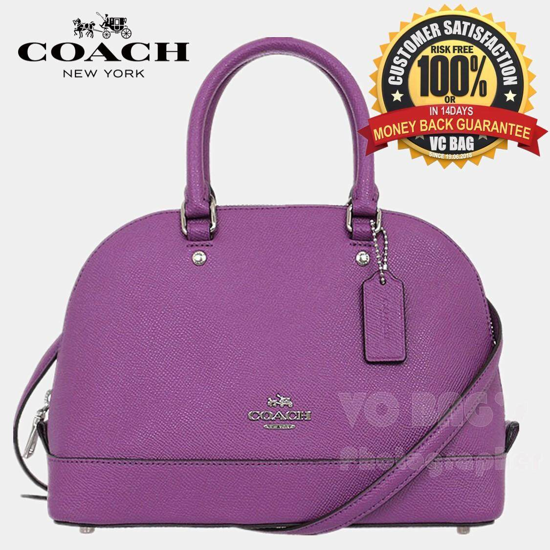 COACH F57555 Mini Sierra Satchel in Crossgrain Leather Bag  Silver Purple  e3ac640643