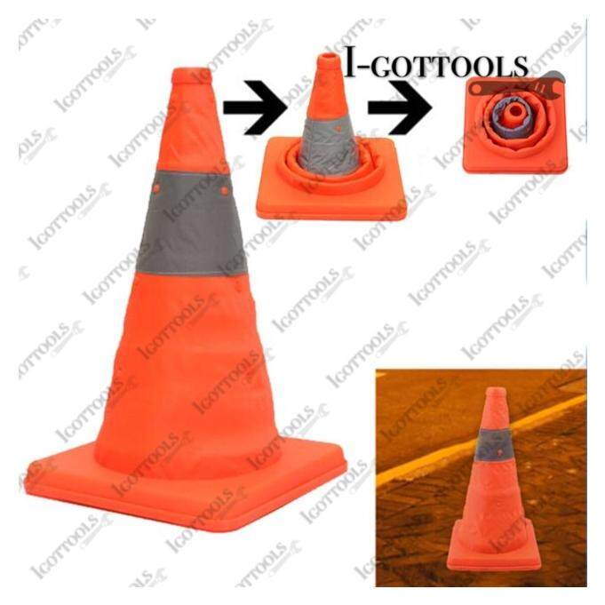 28IN  70CM Collapsible Reflective Traffic Road Safety Cones Flexible Multipurpose(Easy to keep/Easy to Use)