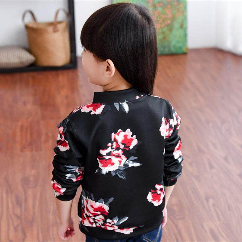 Floral Kids Coat Baby Girls Outerwear Windbreak Korean Style Long Sleeve Jacket By Valueshopping-Mal.