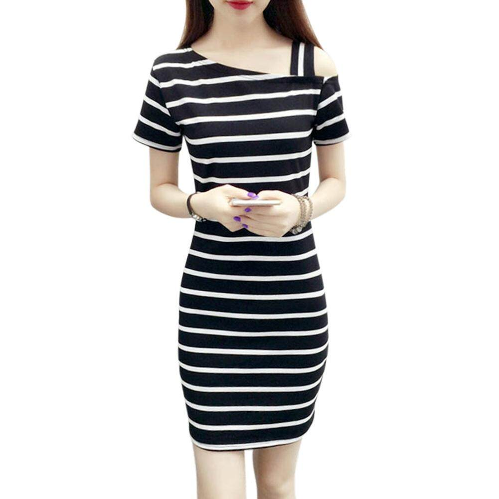 0e739353d7f Qimiao Women Fashionable Slim Design Delicate Stripe Printing Pullover Dress  Off-shoulder Dress
