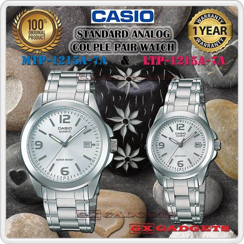 CASIO MTP-1215A-7A + LTP-1215A-7A STANDARD Analog Couple Pair Watch Date Stainless Steel Band WR MTP-1215 LTP-1215 1215A Series Malaysia