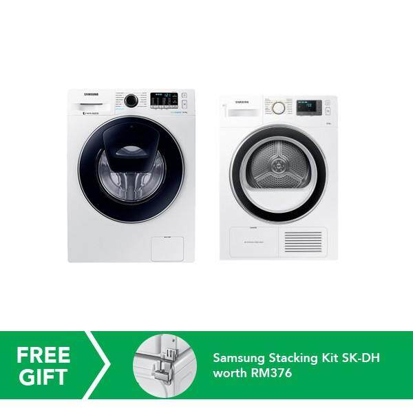 Samsung 8kg Front Load Washer + 8kg Condenser Front Load Dryer