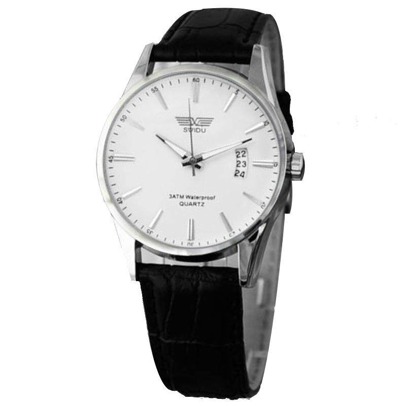 BPFAIR_Luxury Black Leather Strap Calendar Quartz Mens Date Wrist Watch Free shipping Malaysia