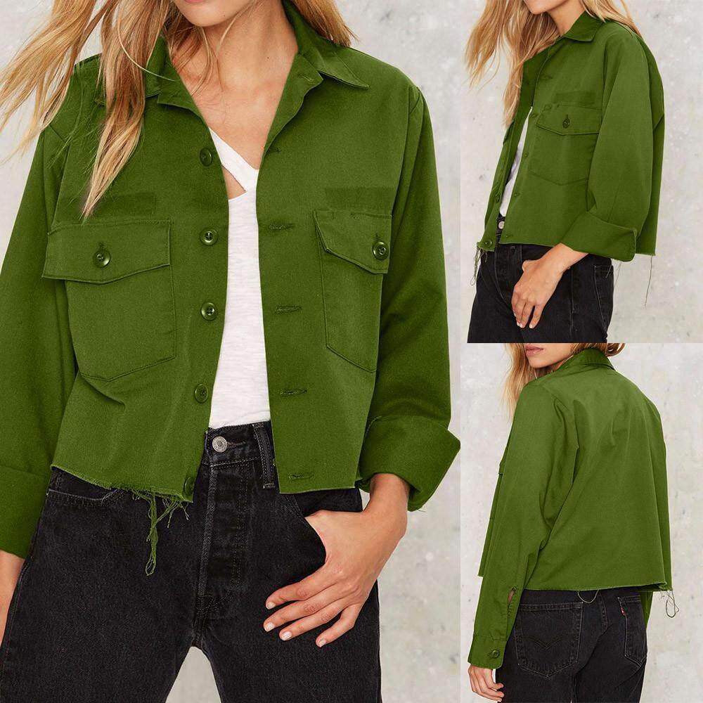 499561ea079 Womens Retro Button Bomber Jacket Casual Coat Outwear