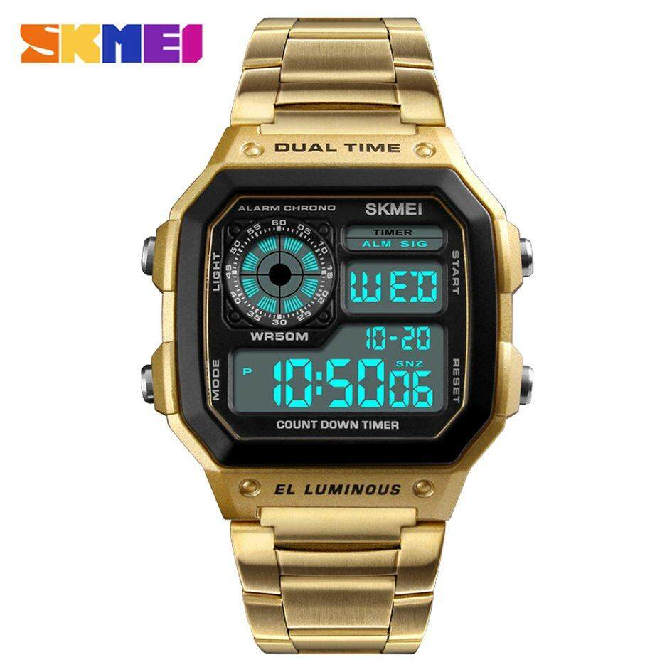 Skmei Man Dual Time Display Watch LED Digital Quartz Analog Wrist Watches Golden Malaysia