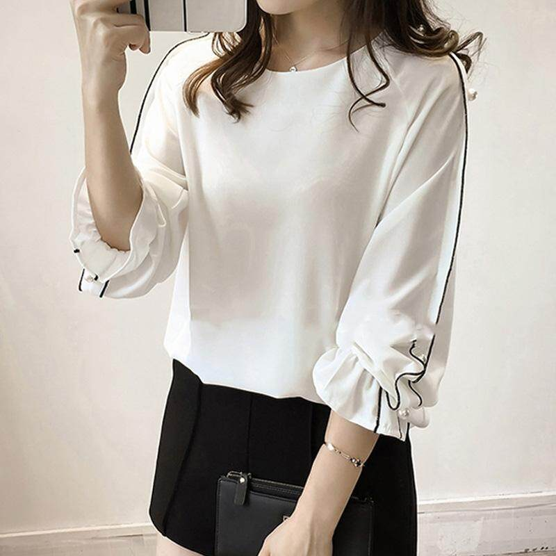 Women Large Size Shirt Blouse Shirt Fashion Long Nail Bead Horn Design Sleeve Chiffon By Red Autumn.