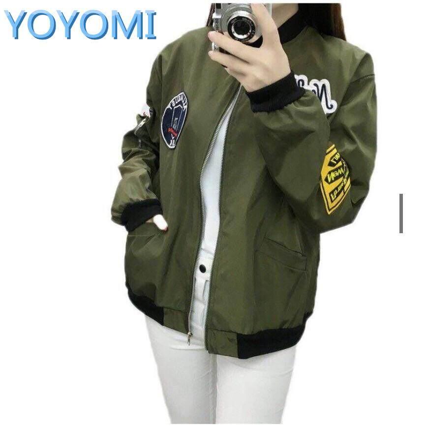 Yoyomi Women Thin Badge Bomber Flying Jacket Baseball Suit Loose Long Sleeves Outerwear By Yoyomi.