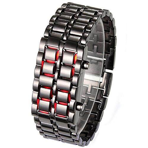 Bluelans® Mens Womens Unisex Lava Stainless Steel LED Digital Quartz Bracelet Watch Wristwatch Malaysia