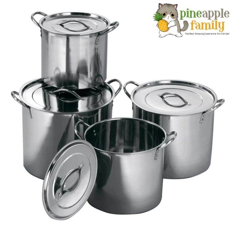 8pcs Set Mirrored Polished Stainless Steel Stock Pots By Pineapple Family.