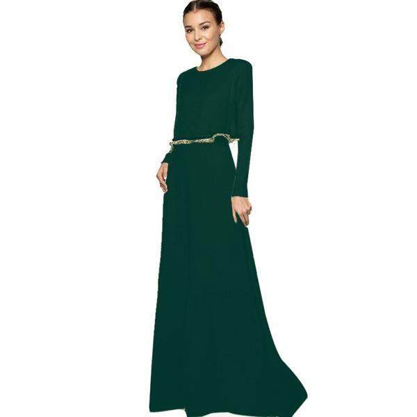 1376ea85d97a Solid Color Muslim Women Long-sleeve Dress Abaya Clothes