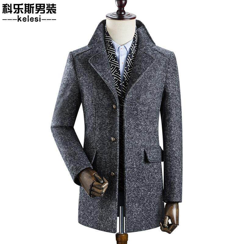 Mens Business Casual Thicken Woolen Trench Coat Detachable Scarf Grey By Perfectly.