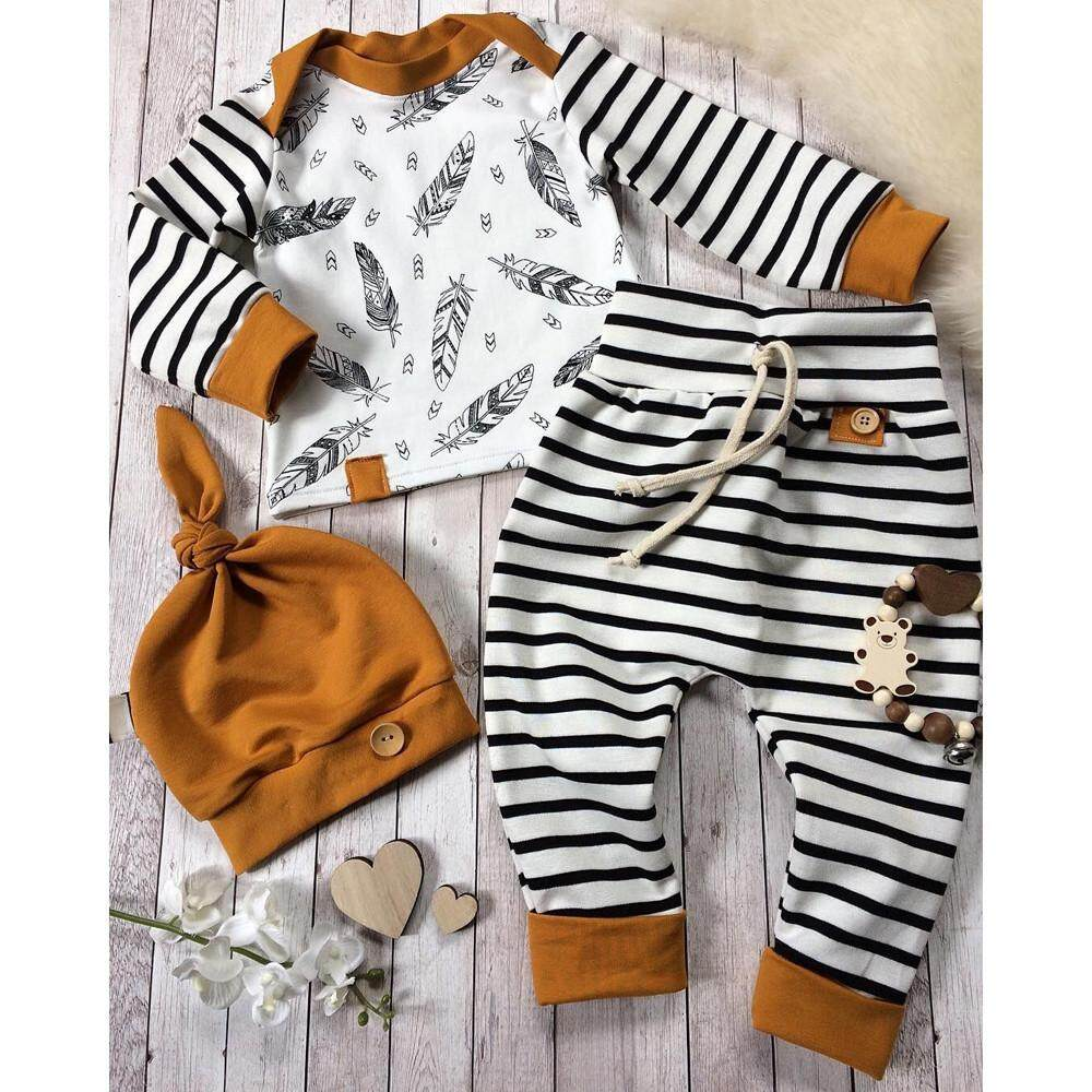 9d6301e55466 Yhystore Newborn Baby Boy Girl Feather T shirt Tops Striped Pants Clothes  Outfits Set